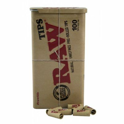 RAW Slide Tin Pre rolled Tips - New - Authentic 100 Tips Chlorine Free -