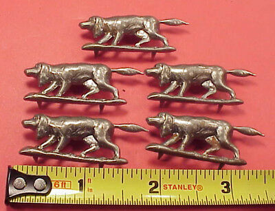 Vintage STEEL 1 3/4 INCH POINTER HUNTING DOG CLIP ON FOB HAT BAND FIVE PIECES