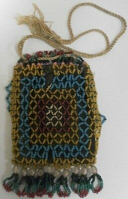 Old Antique Native American Indian Handmade Ornate String Beaded Pouch Bag Rare