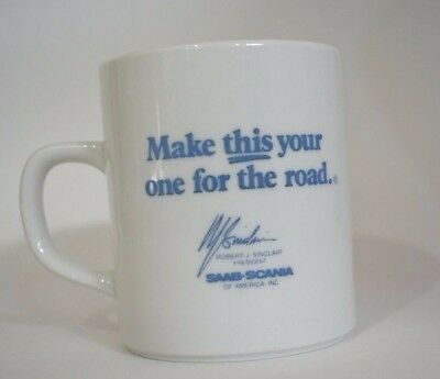 Vintage SAAB-SCANI Coffee Mug Make This Your One For The Road Signed by SINCLAIR