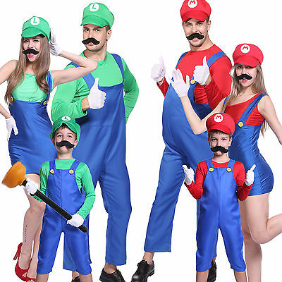 Costume de Deguisement Complet Super Mario Luigi Brothers Uniforme Adulte Enfant