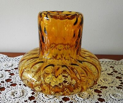1970s RETRO AMBER GLASS CEILING LIGHT SHADE ONLY