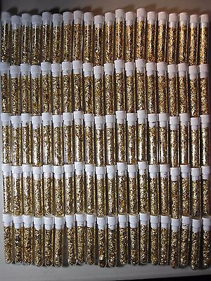 1000 Large Gold Leaf Flakes Vials Lot Filled Full 24K Yellow Luster No Liquid