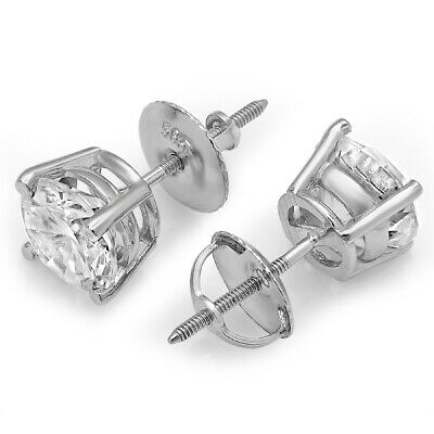 4 ct Round Cut Solitaire Stud Earrings in Solid 14k Real White Gold Screw Back