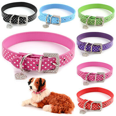 Collier pour chien chat animaux harnais PU cuir en strass dot polka pet collar