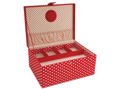 LC Designs 82316 Red Dot + Embroidery Large Sewing Storage Box 31 x 23 x 14?cm