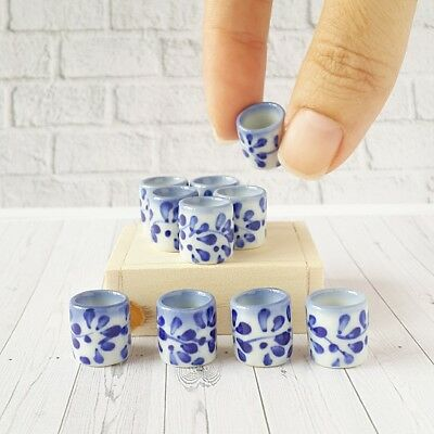 2x10mm Dollhouse Miniature Blue Ceramic Hand Painted Mug Coffee Tea Cup Supply
