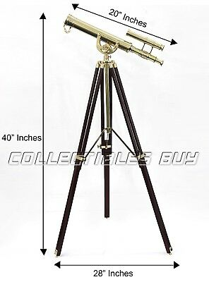 Nautical maritime authentic shiny brass double barrel telescope brown tripod