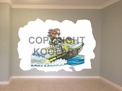 HUGE KOOLART CARTOON Jet Ski Sea-Doo Bombardier Wall Sticker Poster Mural  1270