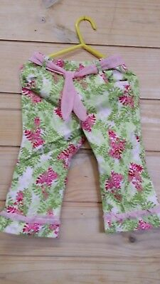 Oshkosh Branded Size 1 Girls Green And Pink Floral Jean Pants With Pink Belt