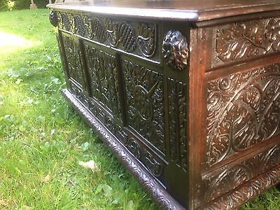 Carved George II Oak Coffer Dated 1736 Early 18th Century Georgian Sword Chest