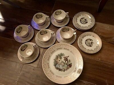American Limoges Triumph d'Or China  (2) Cups and Saucers, USA, 22K Gold