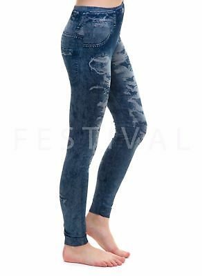 Girls Leggings Jeggings Denim Ripped skinny Jeans look Age 10 11 12 13 14 15 16