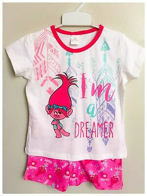 NEW Size 3-8 KIDS GIRLS PYJAMAS SUMMER TROLLS SLEEPWEAR NIGHTIE PJS TOP TEES PJ