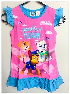 New 2~6 Kids Girls Pyjamas Summer Paw Patrol Sleepwear Nightie Pjs Top Tee's Pj