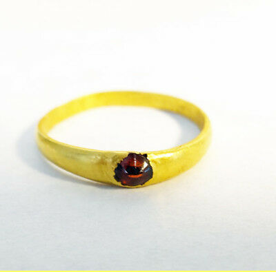 Antique Antiquity Medieval Gold Ring with Garnet 13th - 14th Century AD (#5660)