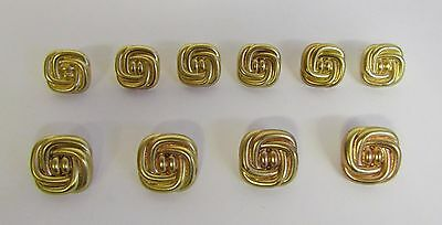 """Vintage * 10 Gold Piping Plastic Buttons * 11/16 & 13/16"""" (18/21 mm) Diameter"""