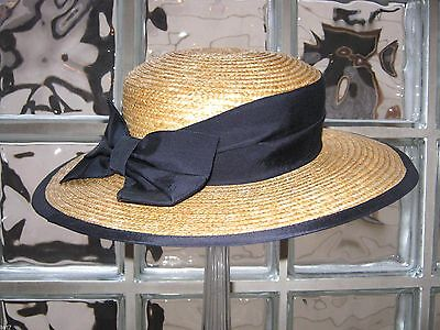 Laura Ashley Vintage Classic Navy Ribbon & Bow Straw Boater Hat, One Size