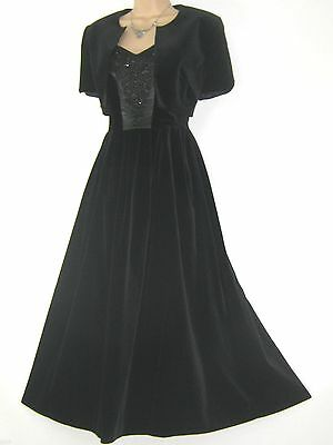 Laura Ashley Vintage Black Velvet Beaded Evening Gown Dress & Bolero,6/8 (10)