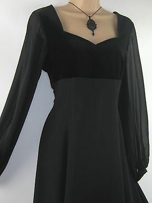Laura Ashley Vintage Regency Style Black Velvet & Silk Evening Dress,10/12 (14)