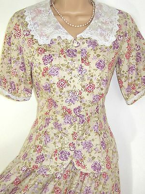 Laura Ashley Vintage Country Lilac Sweet Flowers Summer Skirt & Blouse Set,8/10