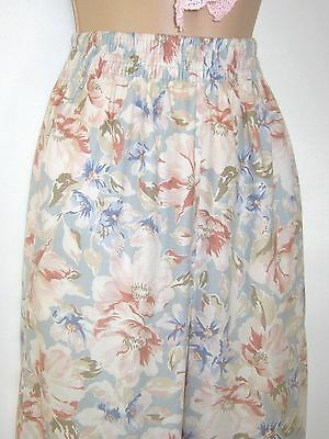 Laura Ashley Vintage Chalk Blue Almond Floral Elastic Waist Summer Trousers, S