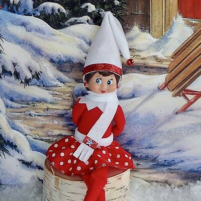 New 4 pc Lot Elf Clothes Polka Dot Red & White Skirt, Hat, Scarf & Earrings