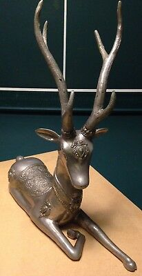 Vintage Antique Rare Collectible Brass Resting ReinDeer Buck Statue Figure India
