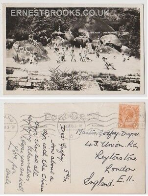 Early Postcard, Malaysia, Penang,  Ayer Tam Penang, Children Swimming, RP 1930