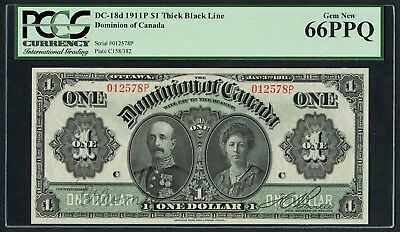 DC-18d $1 1911P THICH BLACK LINE DOMINION OF CANADA PCGS GEM NEW 66 GEM WLM4406