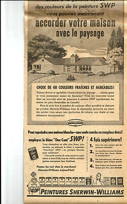 1954 Serwin-Williams Paints Original Ad In French