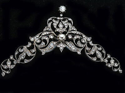 Tiara Antique Victorian Transforms Necklace Brooches Diamonds Gold French (#6253