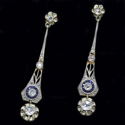 Antique Victorian Edwardian Earrings 18k Gold Silver Diamonds Sapphires (#6291)