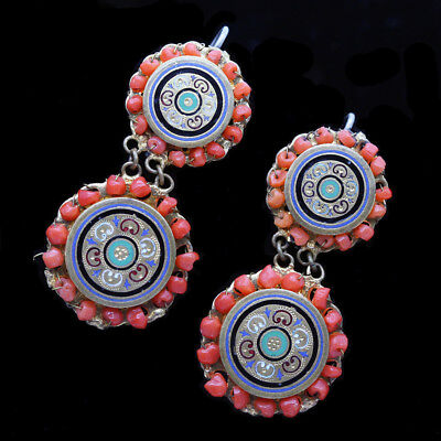Victorian French Earrings Coral Enamel Gilt Metal Napoleon III Antique (#6315)