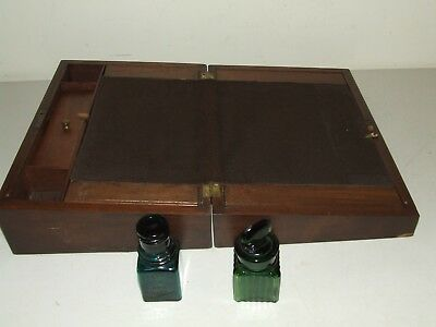 Antique Walnut Victorian Writing Slope Lap Desk Campaign Document Box w/Bottles