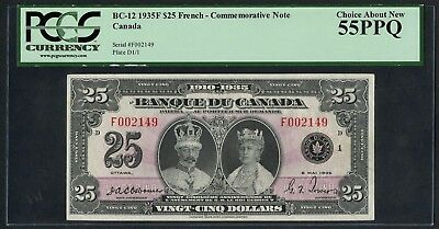 "Canada Bc-12 $25 1935F ""french"" Comm Note Pcgs 55 Ppq Choice About New Wlm4410"