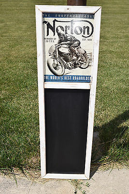 """Norton Motorcycle Sign Display with Chalkboard 14""""X48"""""""