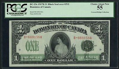 CANADA #DC-23c $1 1917B BLACK SEAL OVER ONE PCGS 55 CHOICE ABOUT NEW WLM4415