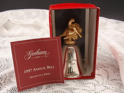 1997 Gorham Silver Plated Annual Christmas Bell 2nd in Series + Box & COA