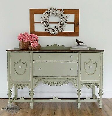 Hand Painted Buffet Sideboard Server