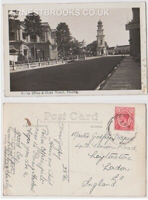 Early Postcard, Malaysia, Penang, Police Office @ Clock Tower, Penang, 1932 RP