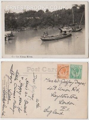 Early Postcard, Malaysia, Penang,  On The Klang River, Old Boats, 1932 RP