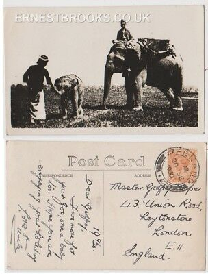 Early Postcard, Malaysia, Penang,  Elephants, Nice Card,  1931 RP