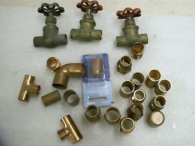 "Mixed Lot of 23 Copper Sweat on Fittings 1/2"" 3/4"" 3 Brass Valves inline  (CU9)"