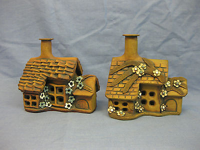 2 Vintage Welsh Studio Pottery Model Cottages~ Fairytale Style~Frederick Pridham