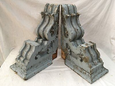 Large Pair Antique Victorian Corbels Roof Brackets Vtg Gingerbread Chic 710-17E