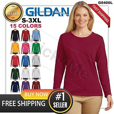 Women's BLANK casual long sleeve T-shirt GILDAN Basic Neck 5400L 3 DAYS SALE!