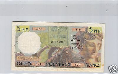ALGERIA 5 NEW FRANCS 31.7.1959 ALPHABET Y.44 PICK 118 a