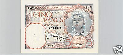 BANK DE L'ALGERIA 5 FRANCS 17.8.1928 ALPHABET D.2896 PICK 77 a quality