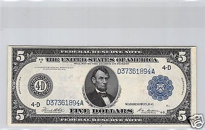 Usa Federal Reserve- Note $5 Dollar 1914 Cleland Pick 359B